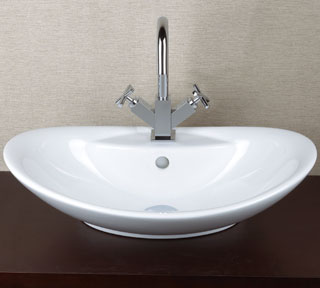 Oval Ceramic Vessel Sink With Single Faucet Hole U0026 Overflow | CB3023
